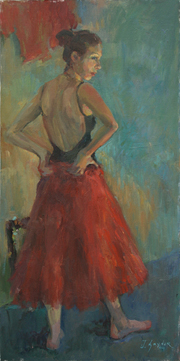 I'll Wear the Red One (Dancer Standing) - Oil on Canvas, 30 x 15